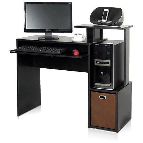 Furinno 12095BK/BR Econ Multipurpose Home Office Computer Writing Desk with Bin