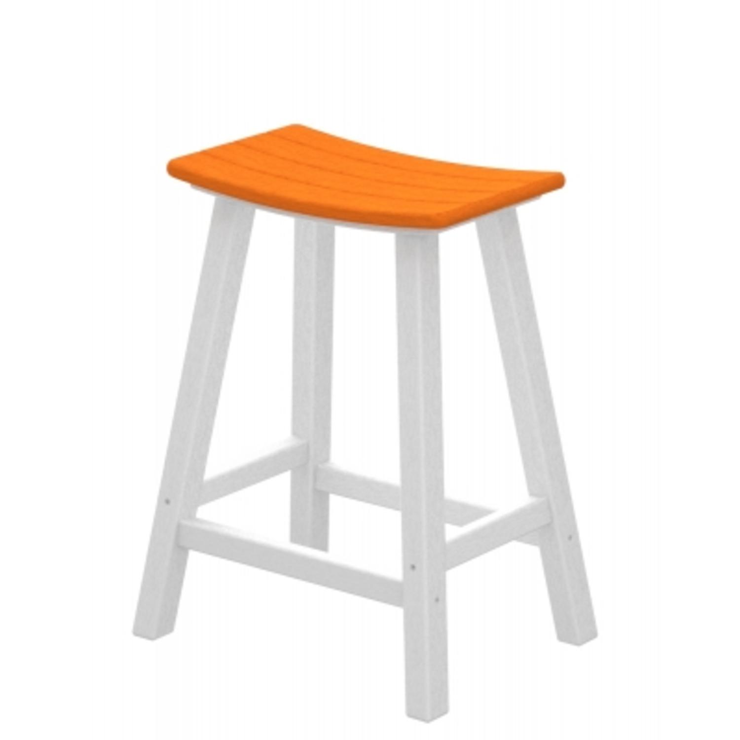"""24.75"""" Recycled Earth-Friendly Curved Outdoor Bar Stool - Tangerine White Frame"""