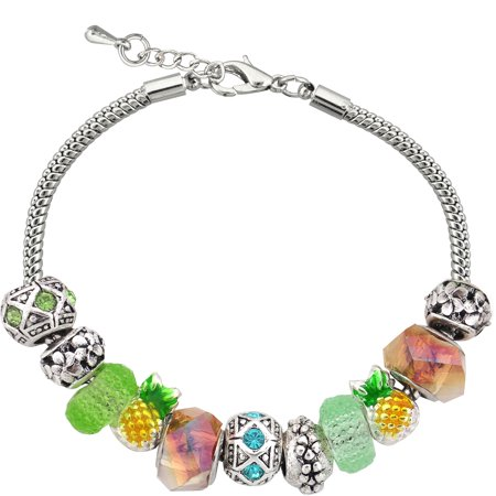 Silvertone Pineapple Charm and Glass Beads Bracelet with Extender, 7.5""