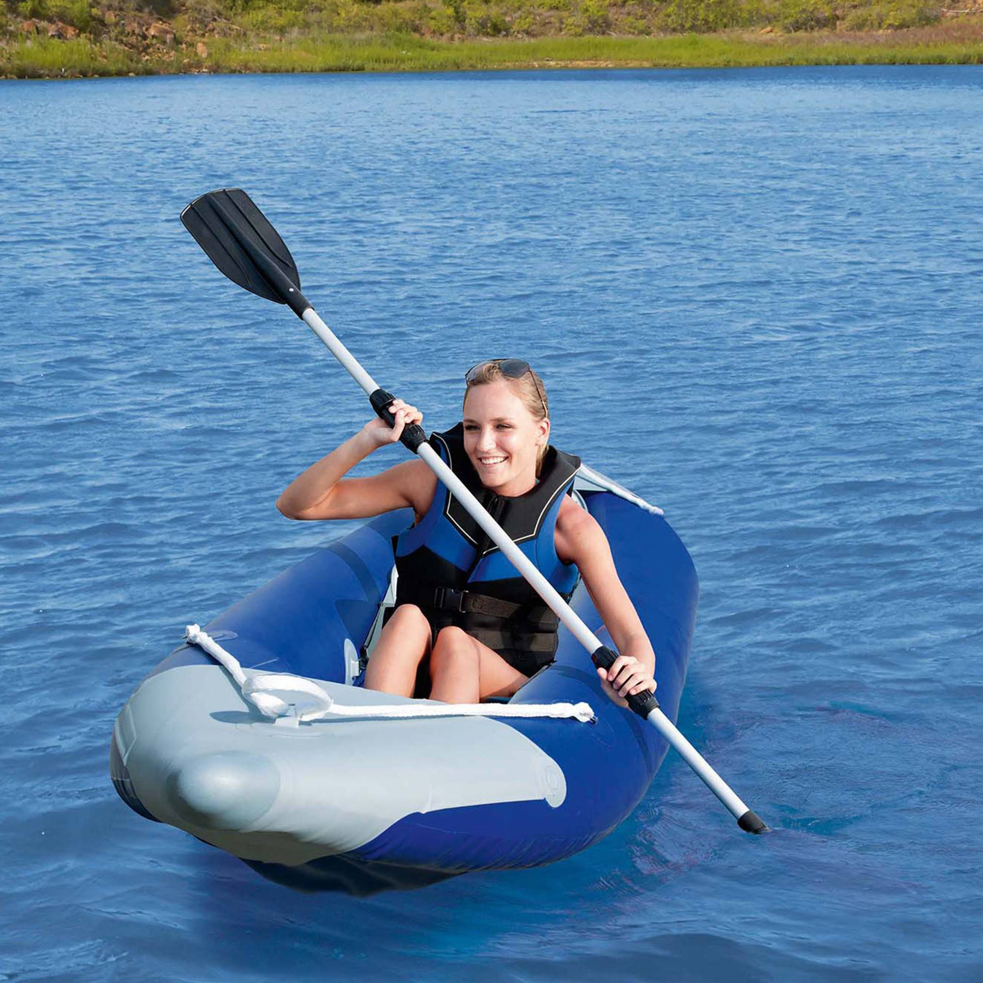 Click here to buy Ozark Trail 1-Person Bolt Inflatable Kayak with Dual-Bladed Oar, Pump and Carry Bag.