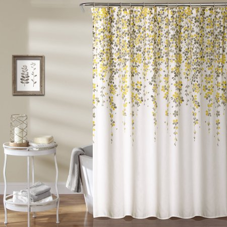 Weeping Flower Shower Curtain Yellow/Gray - Weeping Flower Shower Curtain Yellow/Gray - Walmart.com