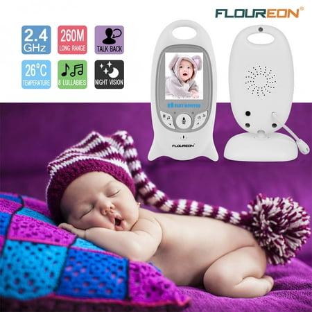 FLOUREON Digital Wireless 2.4 GHz Baby Monitor Infant IR LCD Video Nanny Security Camera Temperature Display 2 Way Talk Night Vision Lullabies Radio ()