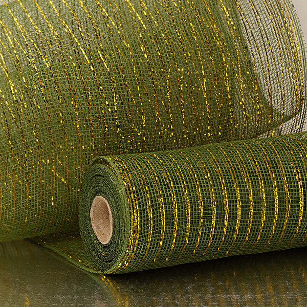 "10"" X 10 Yards Forest Deco Mesh W/Gold Metallic Strps by Paper Mart"