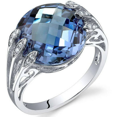7 ct Round Color Changing Created Alexandrite Ring in Sterling Silver Silver June Birthstone Ring