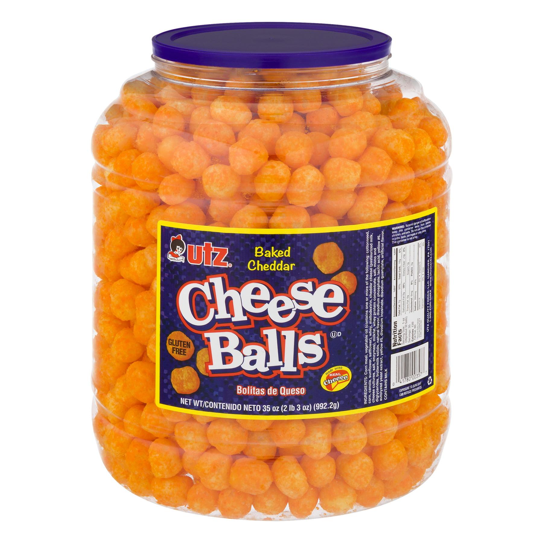 Utz Cheese Balls, Cheddar 35 oz. Barrel