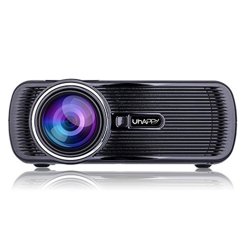 LED Lamp U80 1000lumens 1080P Multimedia Mini Portable HD LED Projector Micro Home Theater Projector with 23 Languages (Black)