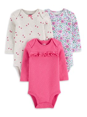 Child of Mine by Carter's Baby Girl Long Sleeve Bodysuits, 3-Pack