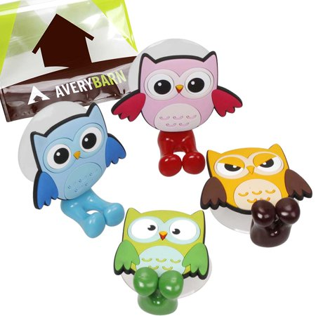 Avery Barn 4pc Owl Design Silicone Bathroom Suction Cup
