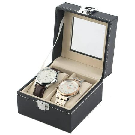 Black Plain Pattern 2 Grid PU Leather Watches Display Case Boxes Storage Box - image 5 de 10