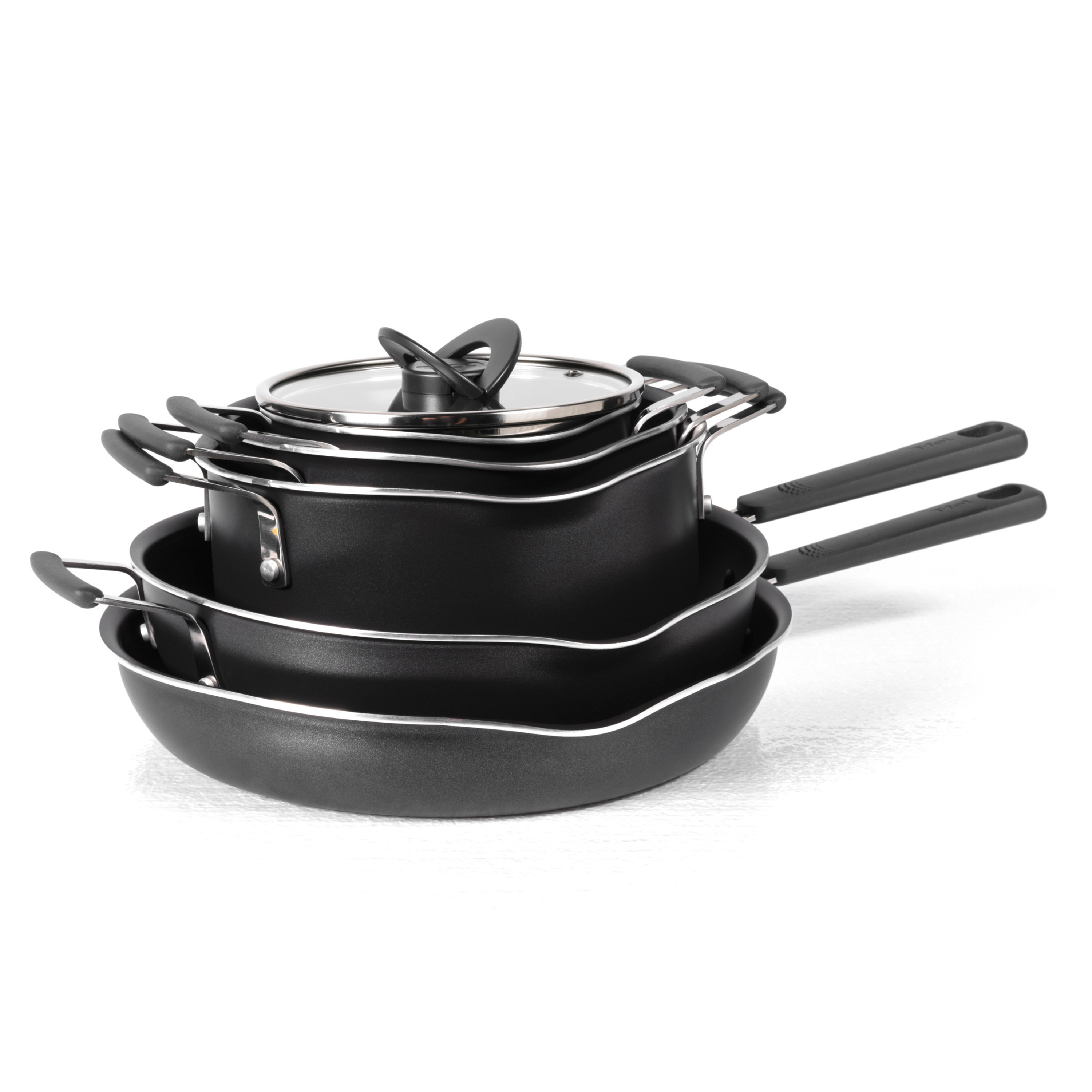 T-fal, Stackables 10 Pc. Set, Multipurpose Space Saving Nesting Cookware, Black, B210SA,