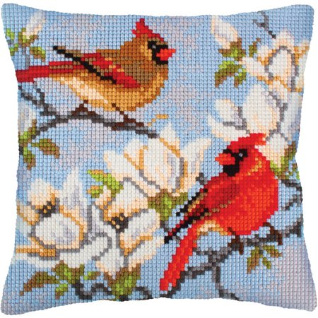 Collection D'Art Stamped Needlepoint Cushion Kit, 40cm x 40cm, On A Branch Magnolia