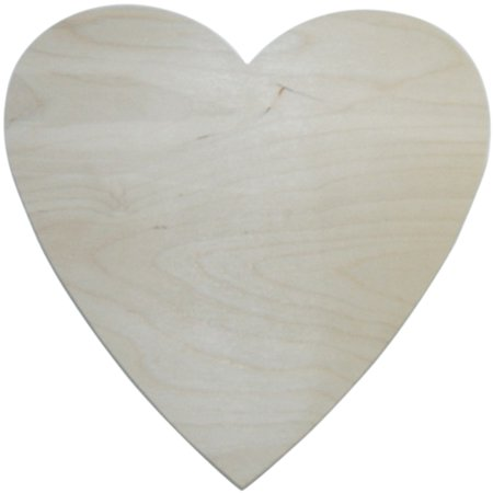 MPI Unfinished Wood Baltic Birch Plaque, Heart, 10