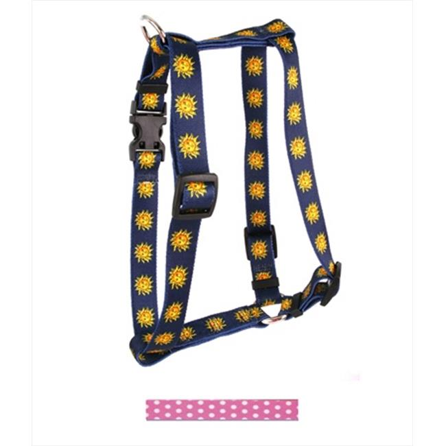 Yellow Dog Design H-NPP104XL New Pink Polka Dot Roman H Harness - Extra Large
