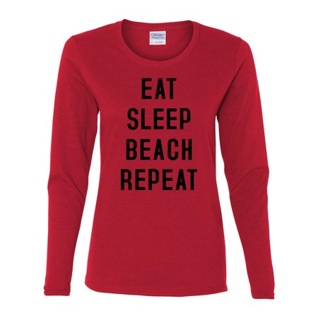 Eat Sleep Beach Repeat Summer Vacation Womens Graphic Tees Long Sleeve