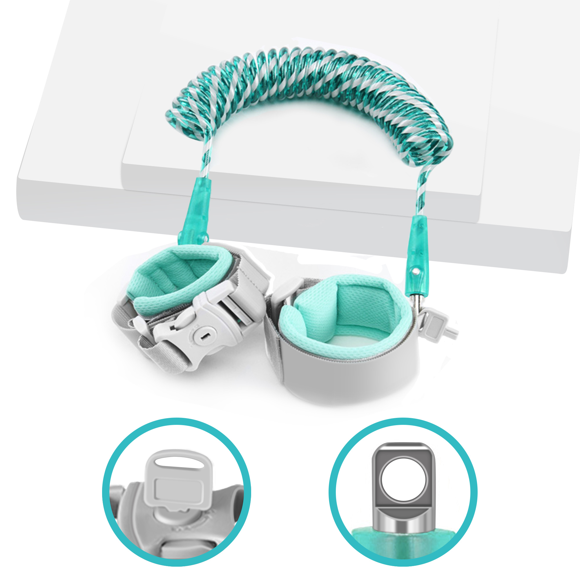 Reflective Anti Lost Wrist Link for Toddlers, 360°Rotate Night Vision Babies Anti Lost Wrist Link with Child Lock Safety Wristband
