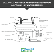 Garbage Disposal Air Switch Nickel Dual Outlet Sink Top Counter Waste