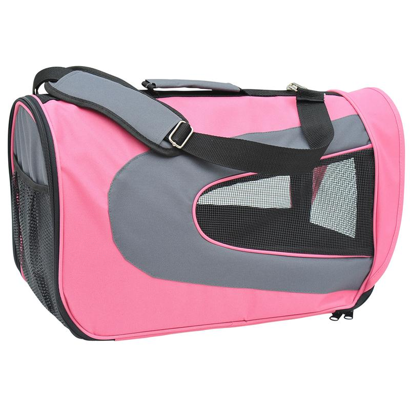 Pawhut Pet Dog Soft Sided Travel Carrier Tote Bag - Pink