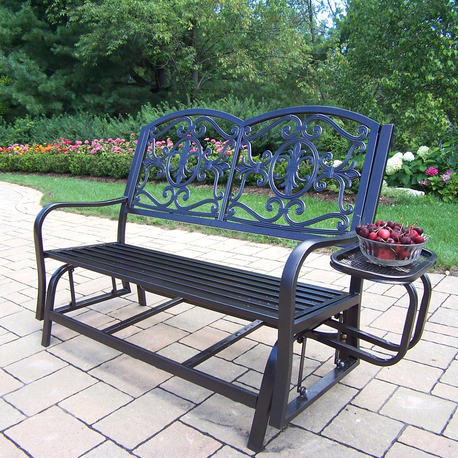 Oakland Living Lakeville Iron Outdoor 4 ft. Glider Bench with Side Tray
