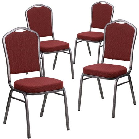 Flash Furniture 4pk HERCULES Series Crown Back Stacking Banquet Chair with Burgundy Patterned Fabric and 2.5