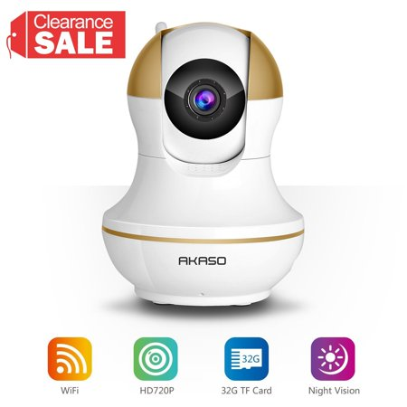 AKASO IP1M-902 Wireless IP Camera Home Wifi Security HD 720P Baby Monitor Video Surveillance Network Webcam - Plug/Play, Night Vision, Two Way Audio, Pan/Tilt (Web Cam To Babys)