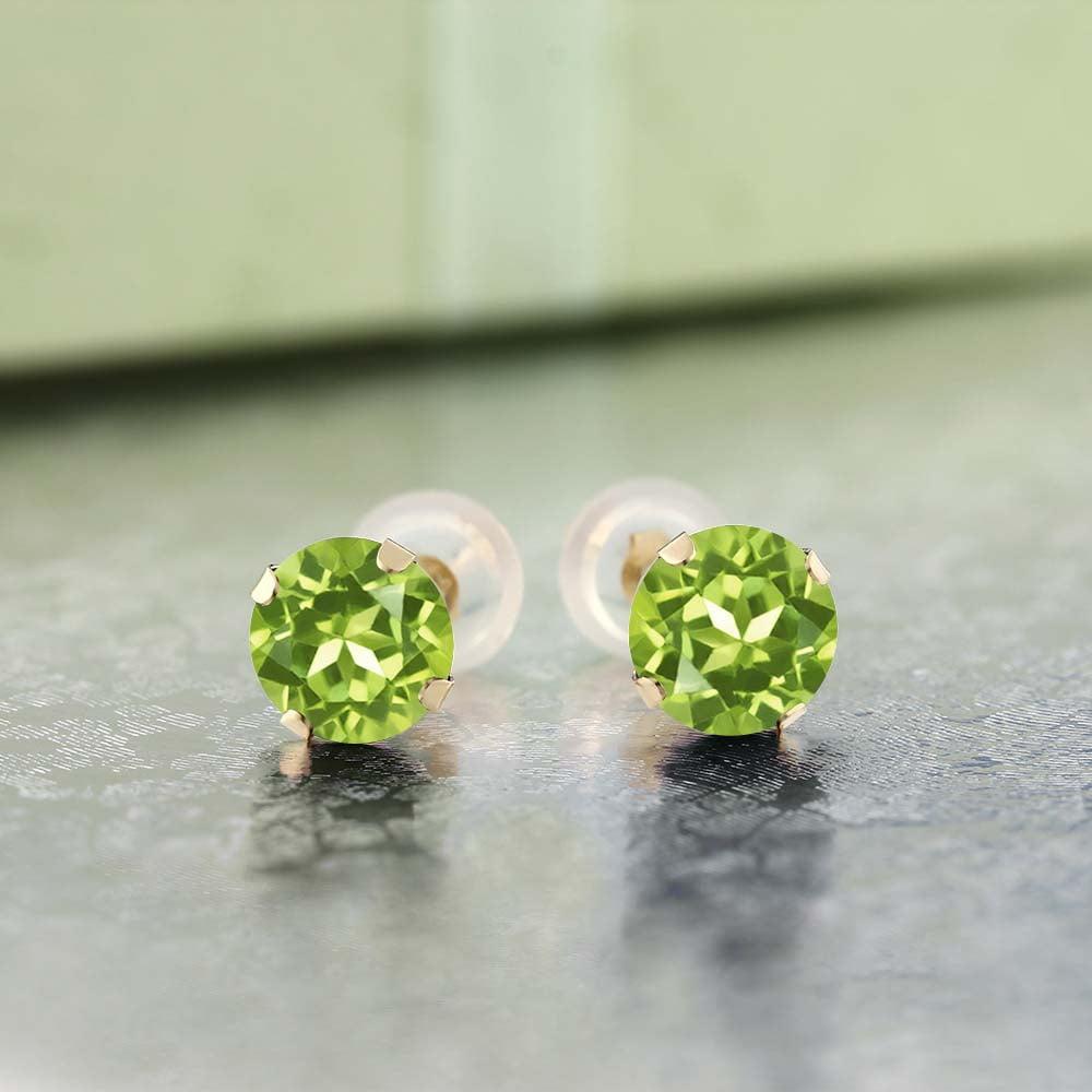 2.00 Ct Round Peridot 10K Yellow Gold Stud Earrings 6MM - image 1 of 3
