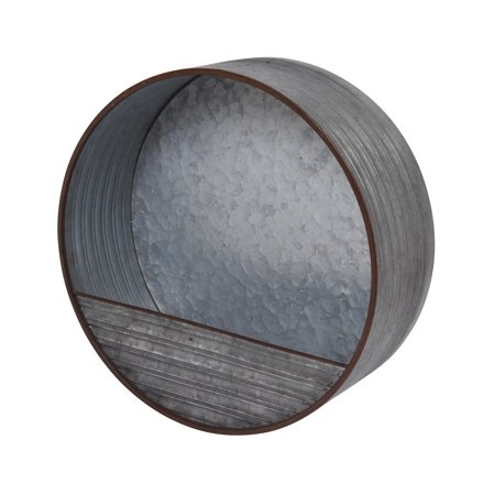Gerson 15.7-Inch Diameter Hanging Round Galvanized Metal Wall Planter