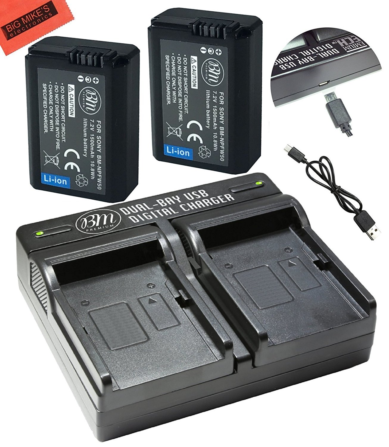 Bm Premium 2 Pack Of Np Fw50 Batteries And Dual Battery Charger For Usb Powered Circuit Sony Alpha Digital Cameras