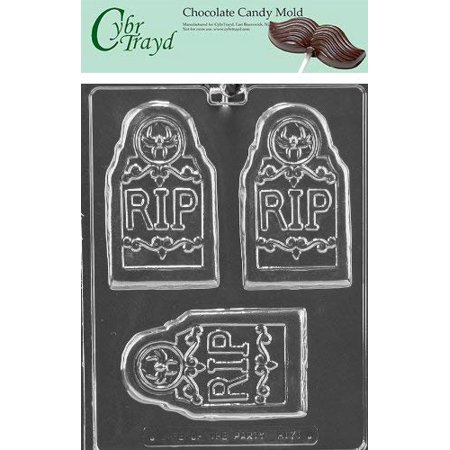 Cybrtrayd Life of the Party H171 Halloween RIP Tombstone Grave Bar Chocolate Candy Mold in Sealed Protective Poly Bag Imprinted with Copyrighted Cybrtrayd Molding Instructions