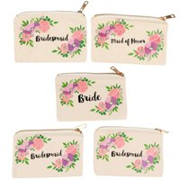 Set of 5 Bridesmaid Makeup Bags, Maid of Honor Bride Canvas Cosmetic Gift Pouches for Bridal Shower, Bachelorette Party, Wedding Favors, Vintage Floral
