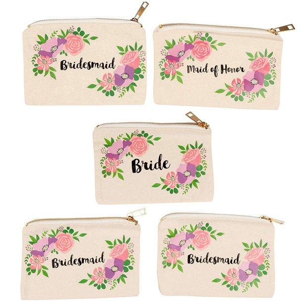 Set Of 5 Bridesmaid Makeup Bags Maid