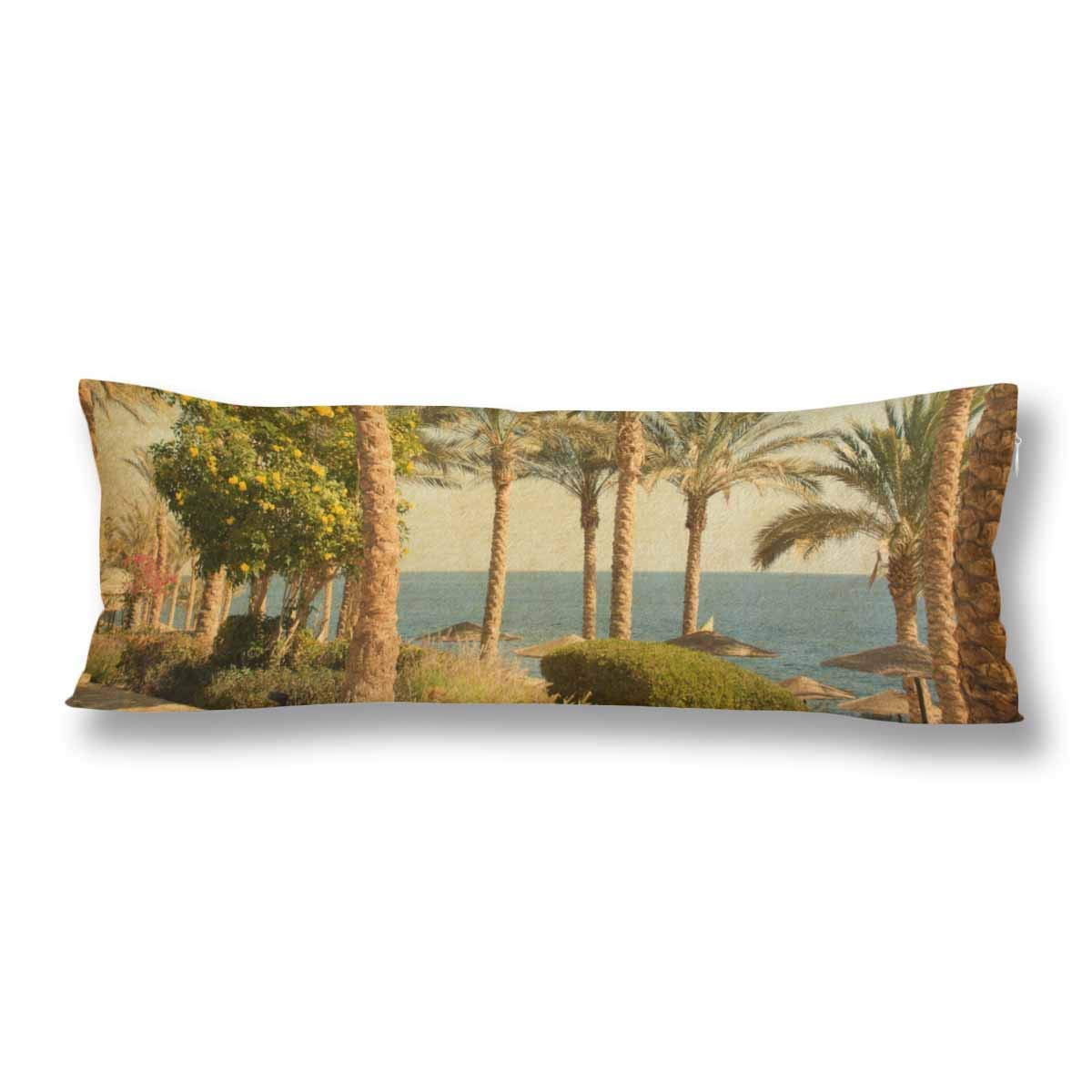 ABPHOTO Beach Palms Blue Sea Sky Summer Holiday Body Pillow Covers Case Protector 20x60 inch