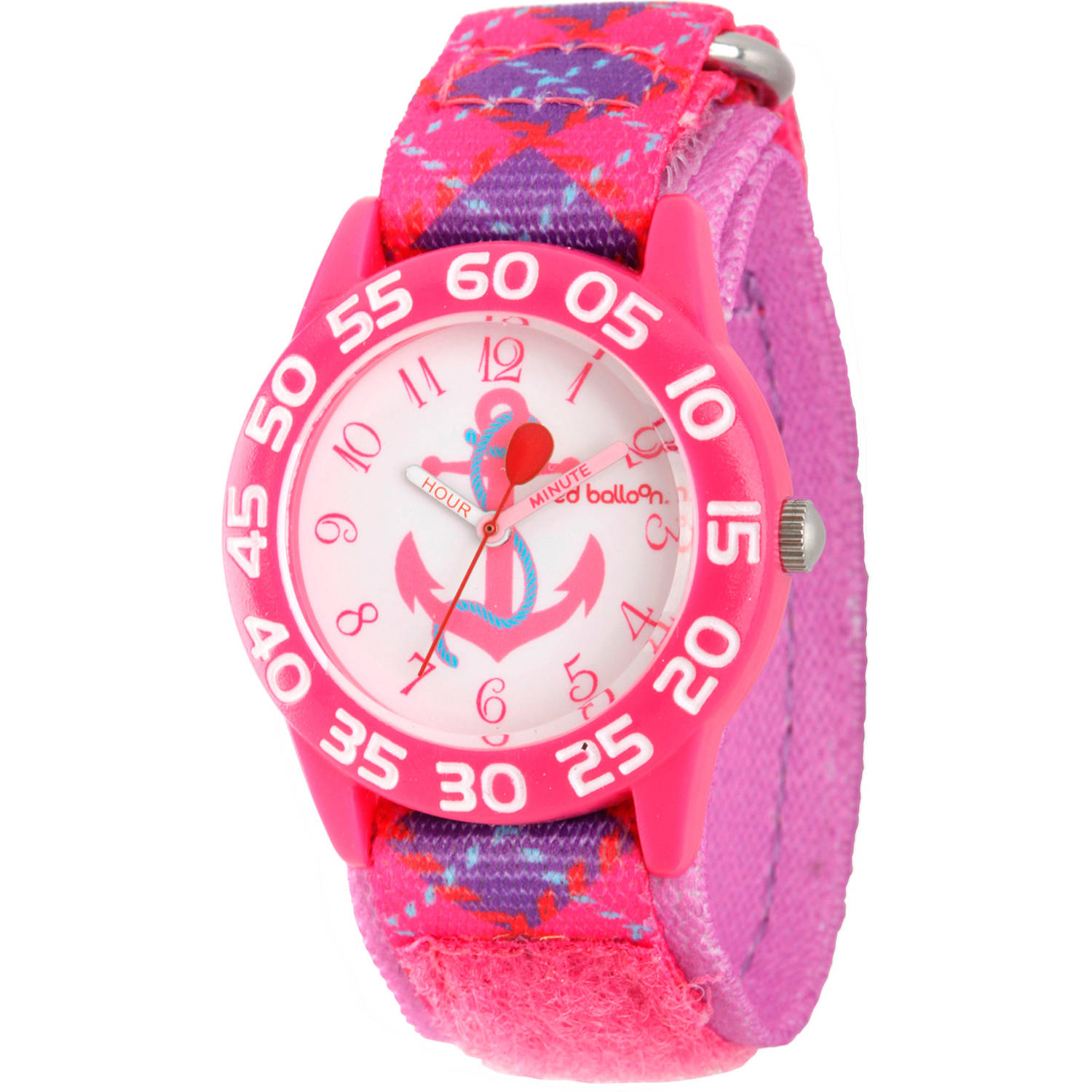 Red Balloon Girls' Pink Plastic Time Teacher Watch, Printed Pink and Purple Nylon Strap