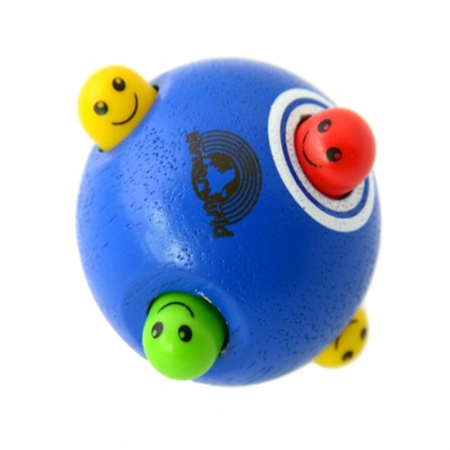 Wonderworld Peek-a-Boo Blue Ball Interactive en bois Baby Toy - Petit pour les petits doigts