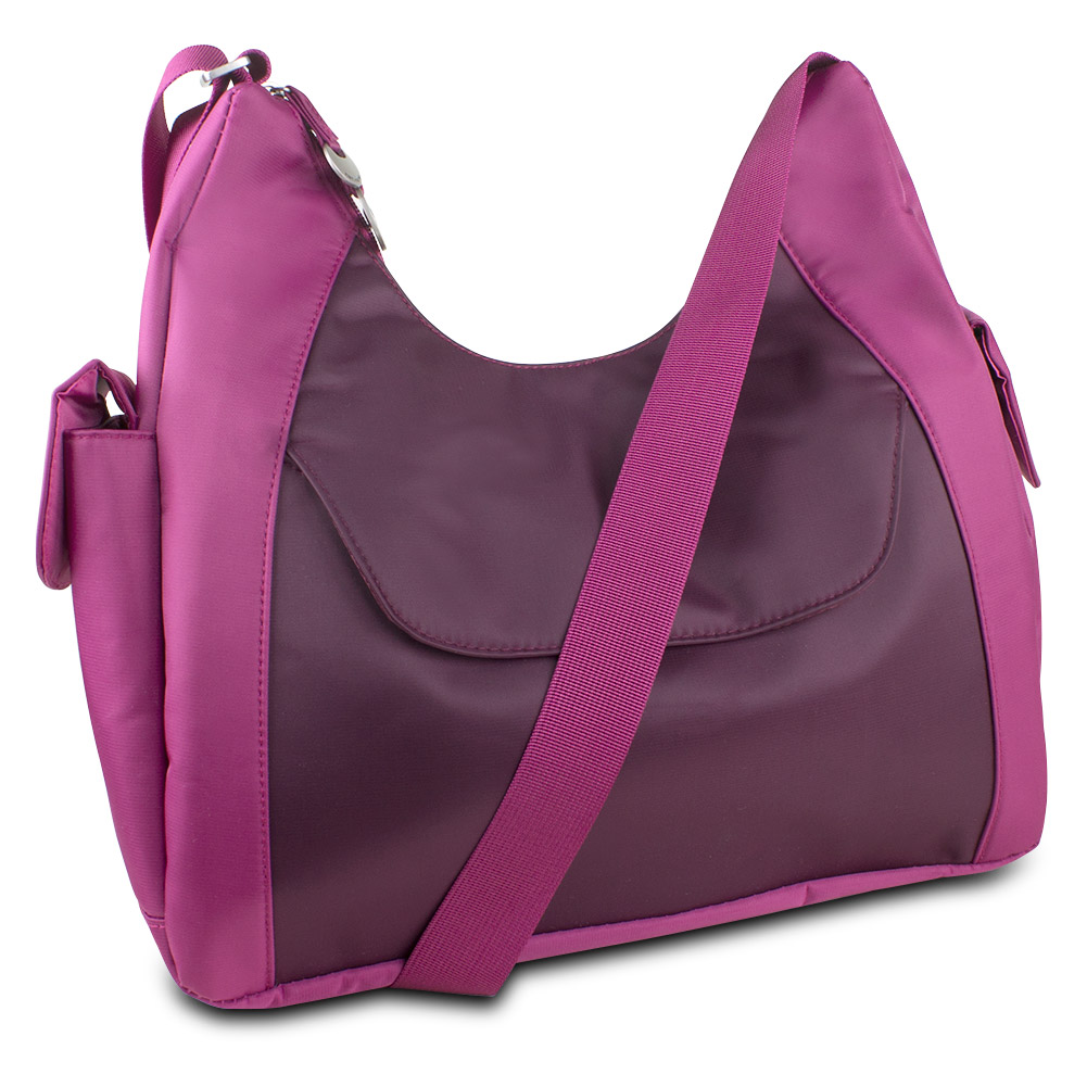 Travelon Hack-Proof Oversized Everyday Hobo Bag w/ RFID Protection (Berry/Wine)