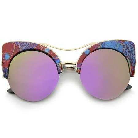 sunglassLA - Women's Flat Lens Floral Print Semi-Rimless Round Cat Eye Sunglasses - (Cat Eye Frames For Round Faces)