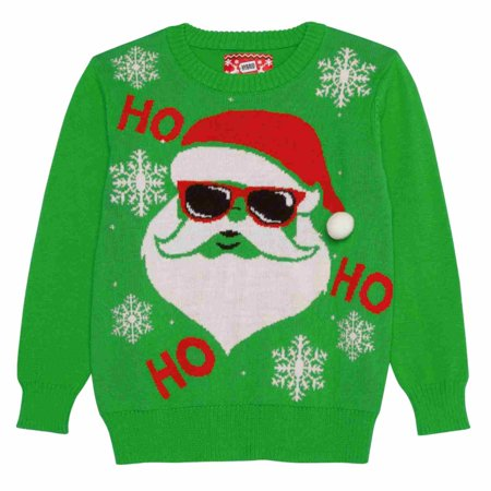 Boys Green Ho Ho Hipster Santa Claus Ugly Christmas Holiday Sweater  - Size - X-Small