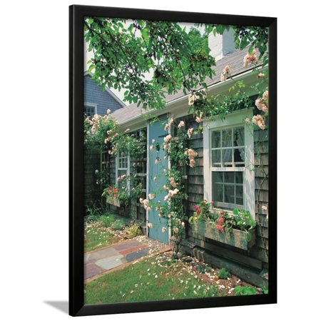 Summer Flower, Doorway, Nantucket, MA Framed Print Wall Art By Walter Bibikow (Doorway Framed)