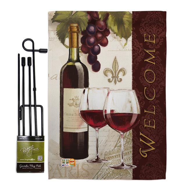 Breeze Decor Bd Wi Gs 117053 Ip Bo D Us18 Wa 13 X 18 5 In Welcome Wines Happy Hour Drinks Wine Impressions Decorative Vertical Double Sided Garden Flag Set With Banner Pole Walmart Com Walmart Com
