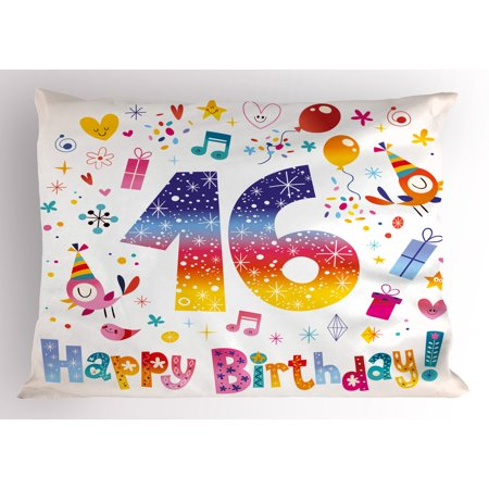 16th Birthday Pillow Sham Cute Sweet Teenage Celebration Motif Hearts Balloon Bird Box Stars Design, Decorative Standard Size Printed Pillowcase, 26 X 20 Inches, Multicolor, by Ambesonne