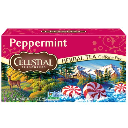 (2 Pack) Celestial Seasonings Herbal Tea, Peppermint, 20 Count