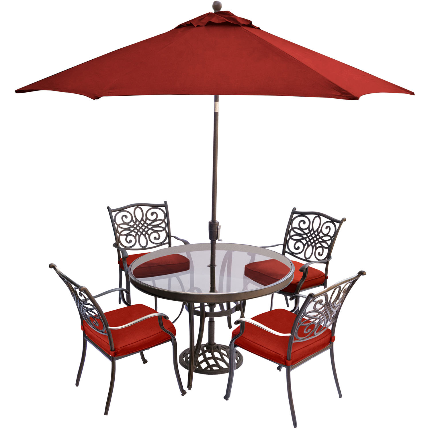 Hanover Traditions 5-Piece Outdoor Dining Set with Round Glass-Top Table, 4 Stationary Chairs, 9-Ft. Table Umbrella and Stand