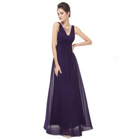 bbc2944230c Ever-Pretty - Ever-Pretty Women s Sexy Long Maxi V Neck Bridesmaid Holiday  Party Evening Prom Summer Dresses for Women 08110 (Purple 14 US) -  Walmart.com