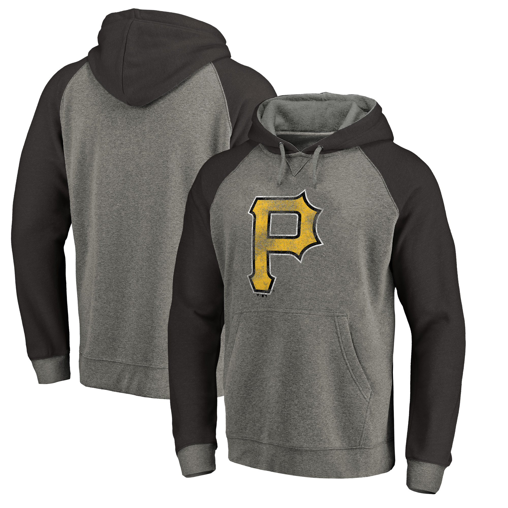 Pittsburgh Pirates Fanatics Branded Distressed Team Logo Tri-Blend Raglan Pullover Hoodie - Gray/Black