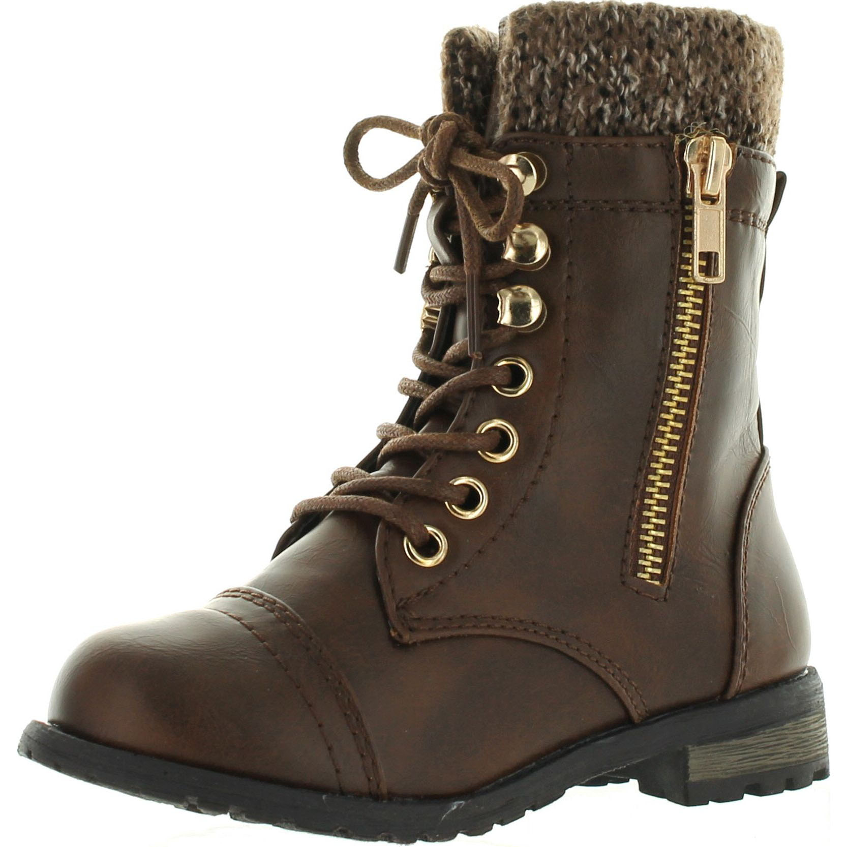 Little Girls JR Youth Studded Combat Military Ankle Lace Up Flat Boots Booties
