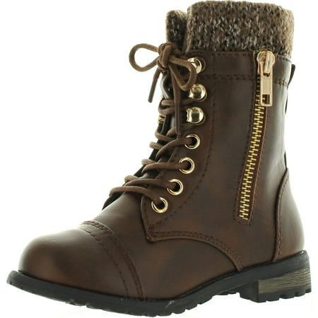 Link Mango-31 Girls Kids Round Toe Military Lace Up Knit Ankle Cuff Low Heel Combat (Safety Toe Lace Up Boots)