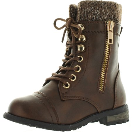 Link Mango-31 Girls Kids Round Toe Military Lace Up Knit Ankle Cuff Low Heel Combat Boots](Boots Low Price)