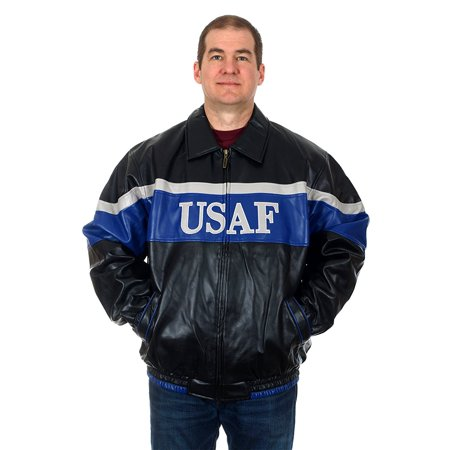 Leather Bomber Style Jacket (Men's USAF Air Force Faux Leather Bomber Style Jacket )
