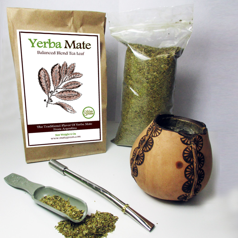 4Pc Argentina Yerba Mate Tea Gourd Cup Straw Bombilla 6oz Leaf Bag Kit Gift 3326