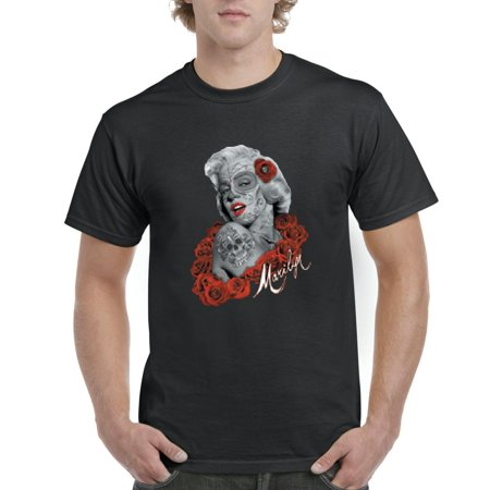 Day of the Dead Costume T-Shirt Marilyn Monroe Skull Mask  Artix Men's T-Shirt Tee - Zombie Marilyn Monroe Costume