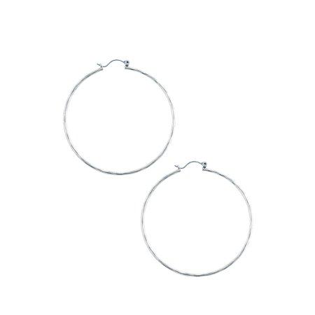 1996 Hoops - Silvertone Hammered Big Hoop Earrings